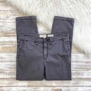 Anthropologie Gray Slim Cropped Chino Pants